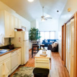 New listing! $2000/mo 3BR/2BA top floor in Noble Square by Blue Line! Vaulted ceilings w/skylights, dishwasher, central air, fireplace, walk-in closets, hardwoods, laundry, deck, FREE parking!